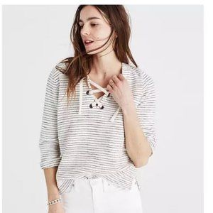 Madewell Striped Lace up Top White